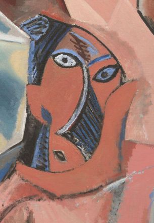 Pablo Picasso, Les Demoiselles d'Avignon, detail of the figure to the lower right